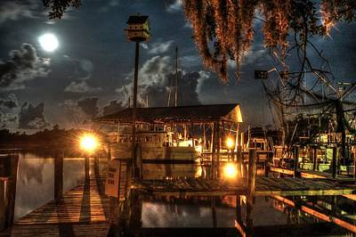 Digital Art - Nelson's Marina With Super Moon by Michael Thomas