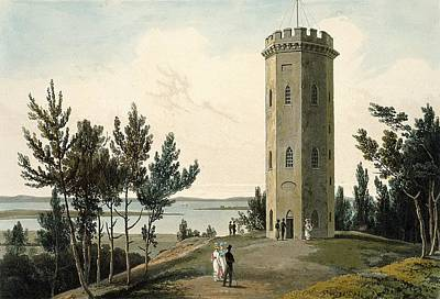 Scottish Drawing - Nelsons Tower, Forres, From A Voyage by William Daniell