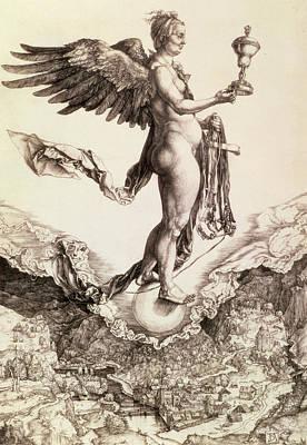Flight Drawing - Nemesis by Albrecht Durer