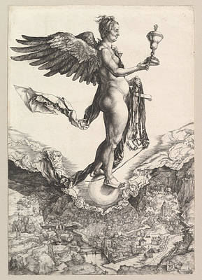 Drawing - Nemesis. The Great Fortune by Albrecht Duerer