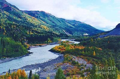 Land Of The Midnight Sun Photograph - Nenana River Alaska by D Hackett