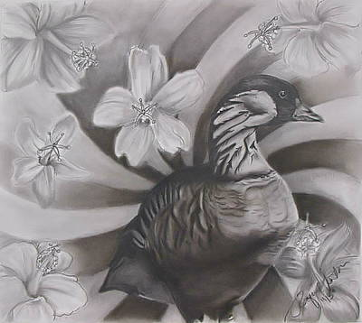 Canadian Geese Drawing - Nene Goose With Hibiscus by Raquel Ventura