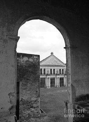 Photograph - Neoclassical Storehouse And Arch Yaxcopoil Mexico by John  Mitchell
