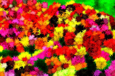 Painting - Neon Abstract Flower Garden by Bruce Nutting