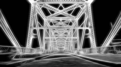 Digital Art - Neon Bridge At Night by Dan Sproul