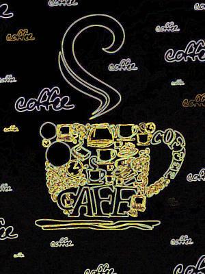 Digital Art - Neon Caffeine by Rhonda Barrett