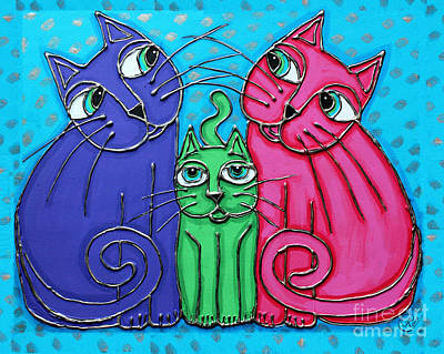 Painting - Neon Cat Trio #2 by Cynthia Snyder
