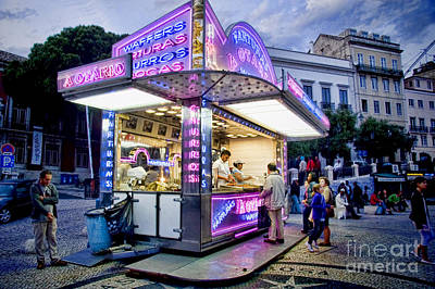 Photograph - Neon Churros Stand In Lisbon 2 by David Smith
