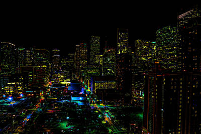 Photograph - Neon Downtown Houston by Judy Vincent