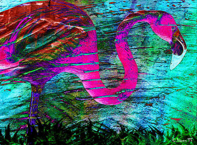 Key West Mixed Media - Neon Flamingo by Catherine Harms