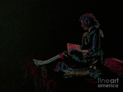 Neon Girl With Book Print by Diane Phelps