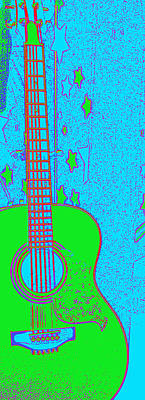 Neon Guitar And Stars Original by Laurie Pike