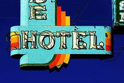 Photograph - Neon Hotel Sign by Daniel Woodrum