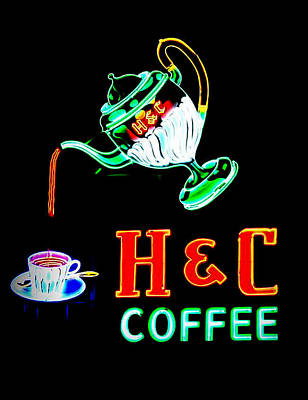 Photograph - Neon Lights Coffee Sign by Cathy Shiflett