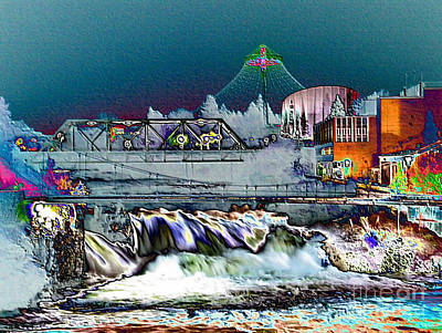 Photograph - Neon Lights Of Spokane Falls by Carol Groenen