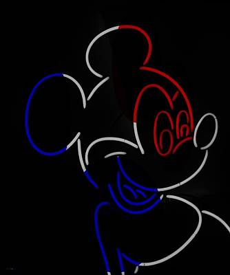 Music Royalty-Free and Rights-Managed Images - Neon Mickey R W B by Rob Hans