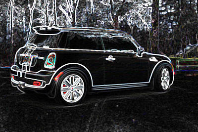 Digital Art - Neon Mini Cooper Sport by Kathy Sampson