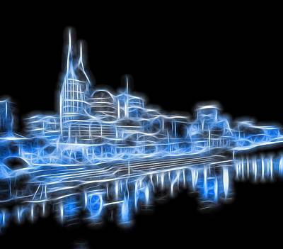 Skylines Mixed Media - Neon Nashville Skyline by Dan Sproul