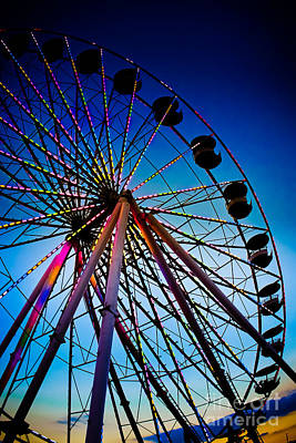 Photograph - Neon Nights - Ferris Wheel by Colleen Kammerer
