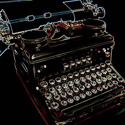 Neon Old Typewriter Art Print by Ernie Echols