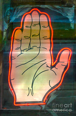 Photograph - Neon Palm Reader by Gregory Dyer