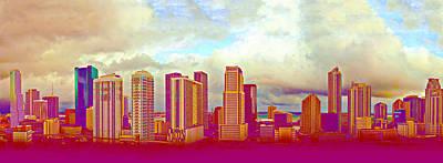 Neon Panorama 1 Art Print by Michael Guirguis