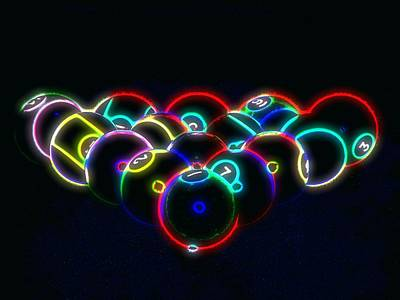 Photograph - Neon Pool Balls by Kathy Churchman