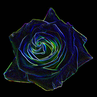 Digital Art - Neon Rose 5 by Ernie Echols