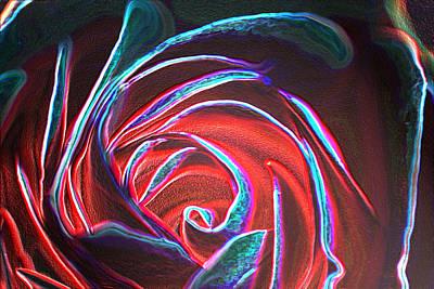 Digital Art - Neon Rose by Wendy Wilton