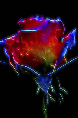 Art Print featuring the digital art Neon Rose by William Horden