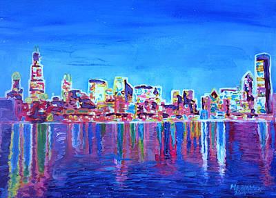 Neon Shimmering Skyline Of Chicago Skyline At Night Original by M Bleichner