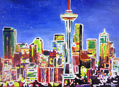 Neon Shimmering Skyline Of Seattle With Space Needle With Stars At Night  Original