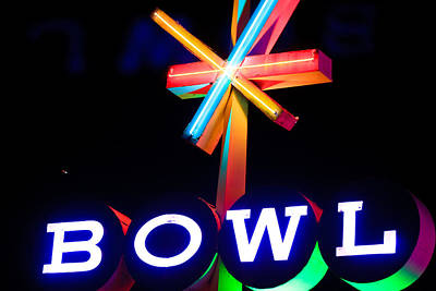 Photograph - Neon Sign - Bowl by Ben Graham
