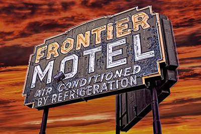 Photograph - Neon Sign Frontier Motel by Henry Kowalski