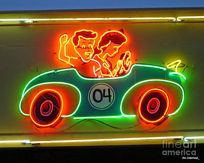 Rollercoaster Digital Art - Neon Sign Kennywood Park by Jim Zahniser