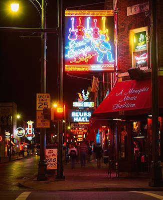 Food And Drink Photograph - Neon Sign Lit Up At Night In A City by Panoramic Images
