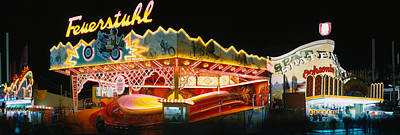 Neon Sign Lit Up At Night, Oktoberfest Art Print by Panoramic Images