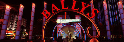 Monorail Photograph - Neon Sign Of A Hotel, Ballys Las Vegas by Panoramic Images