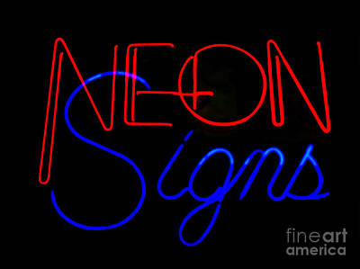 Neon Signs In Black Art Print by Kelly Awad