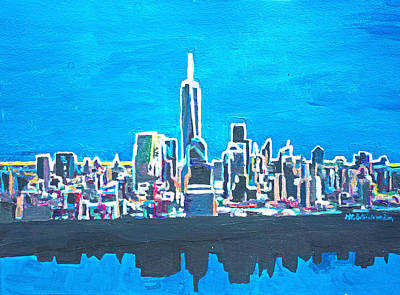 New York City Painting - Neon Silhouette Skyline Of Manhattan New York City With 1wtc by M Bleichner