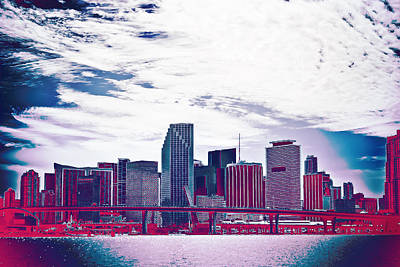 Miami Skyline Wall Art - Photograph - Neon Soul - 20 by Michael Guirguis