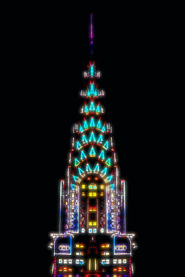 Chrysler Building Digital Art - Neon Spires by Az Jackson