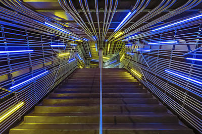 Neon Steps Art Print by Akos Kozari
