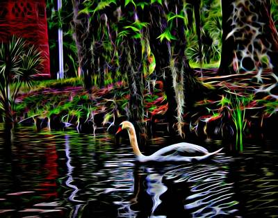 Photograph - Neon Swan by Judy Vincent