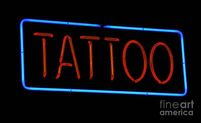 Photograph - Neon Tattoo Sign by Phil Cardamone