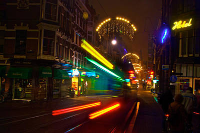 Art Print featuring the photograph Neon Tram Leidestraat by Jonah  Anderson