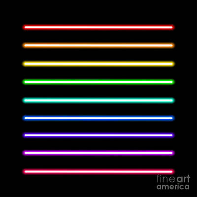 Glow Digital Art - Neon Tube Light Pack Isolated On Black by Boxerx