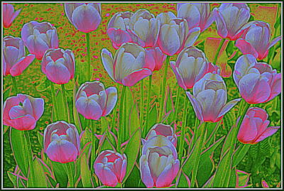 Neon Tulips Pop Art Original