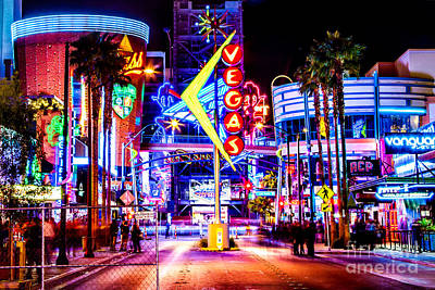 Traffic Sign Photograph - Neon Vegas by Az Jackson