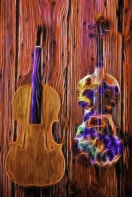 Violin Photograph - Neon Violins by Garry Gay